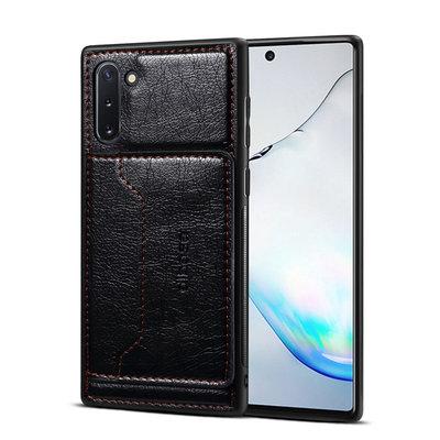 Samsung Galaxy Note 10 hoesje, Lederen gelcase met standaard en vakje voor pasje, zwart