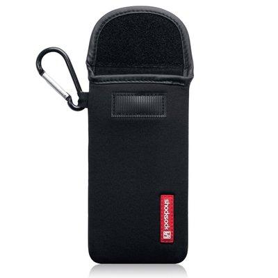 Hoesje voor iPhone 11 Pro, Shocksock neopreen pouch met karabijnhaak, insteekhoesje, zwart