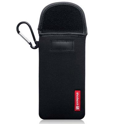 Hoesje voor iPhone 11 Pro Max, Shocksock neopreen pouch met karabijnhaak, insteekhoesje, zwart