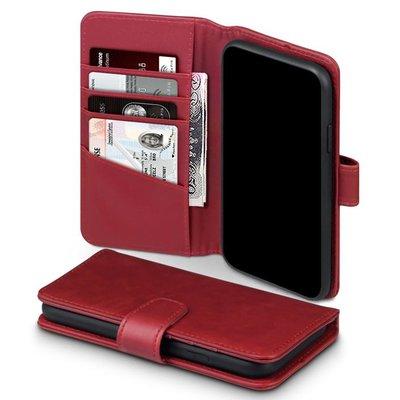 Apple iPhone 11 hoesje, MobyDefend luxe echt leren bookcase, Rood