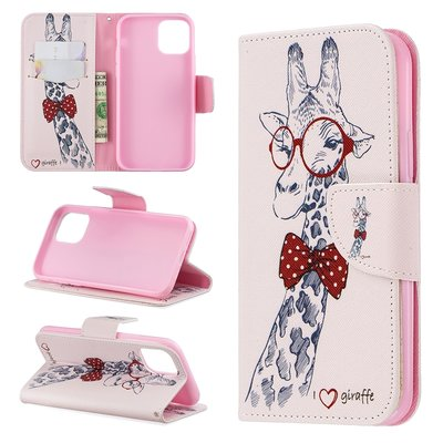 iPhone 11 Pro hoesje, 3-in-1 bookcase met print, giraffe