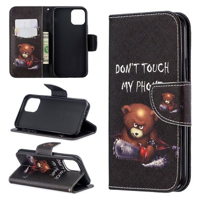 iPhone 11 Pro hoesje, 3-in-1 bookcase met print, beer, don't touch my phone
