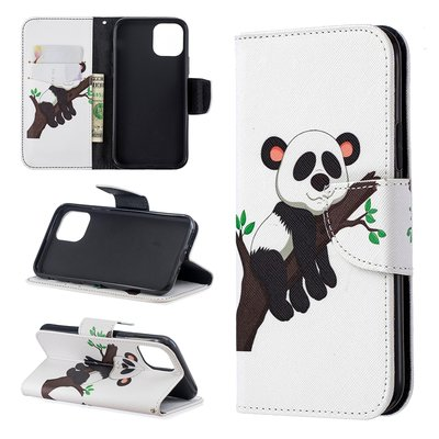 iPhone 11 Pro hoesje, 3-in-1 bookcase met print, panda in boom