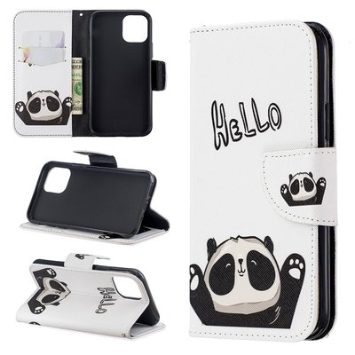 iPhone 11 Pro hoesje, 3-in-1 bookcase met print, panda, hello
