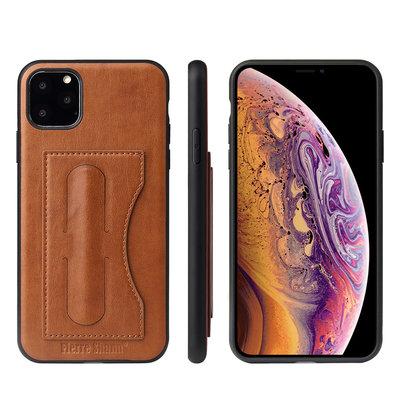 iPhone 11 Pro hoesje, Lederen gelcase met standaard en vakje voor pasje, cognac bruin