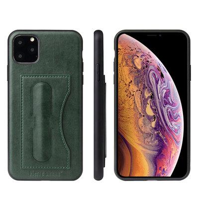 iPhone 11 Pro hoesje, Lederen gelcase met standaard en vakje voor pasje, groen