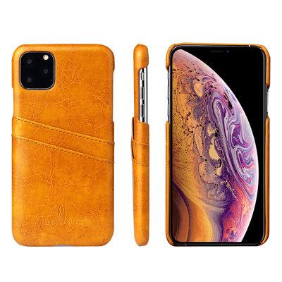 iPhone 11 Pro hoesje, Lederen hardcase met vakjes voor pasjes, cognac bruin