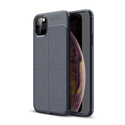 iPhone 11 Pro Max hoesje, gel case lederlook, navy blauw