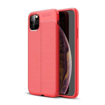 iPhone 11 Pro Max hoesje, gel case lederlook, rood