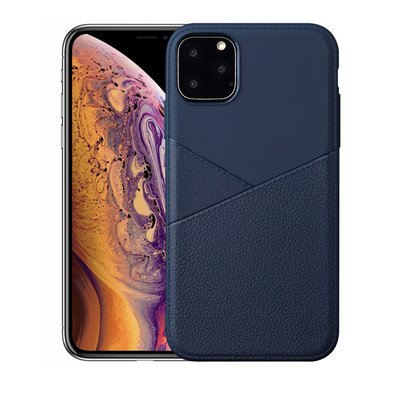 iPhone 11 Pro Max hoesje, gel case half lederlook, navy blauw
