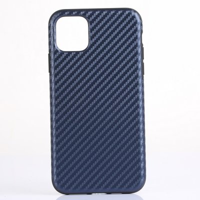 iPhone 11 Pro Max hoesje, gel case carbonlook, navy blauw