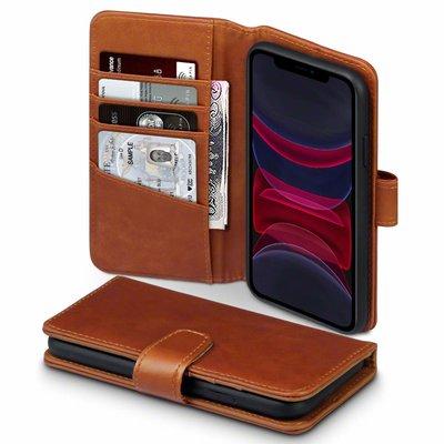 Apple iPhone 11 hoesje, MobyDefend luxe echt leren bookcase, Cognac bruin