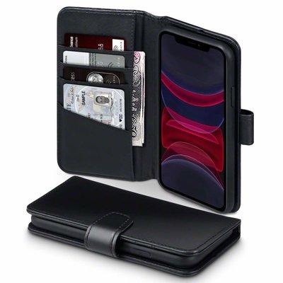 Apple iPhone 11 hoesje, MobyDefend luxe echt leren bookcase, Zwart