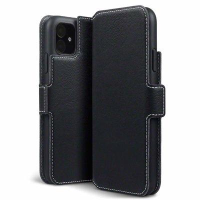 Apple iPhone 11 hoesje, MobyDefend slim-fit extra dunne bookcase, Zwart