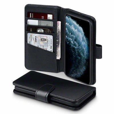 Apple iPhone 11 Pro telefoonhoesje, MobyDefend luxe echt leren bookcase, Zwart