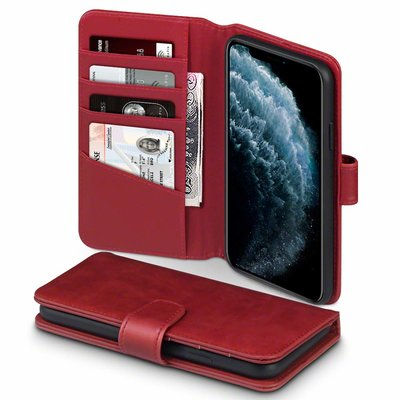 Apple iPhone 11 Pro Max hoesje, MobyDefend luxe echt leren bookcase, Rood