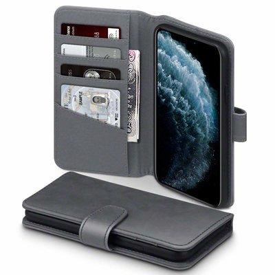 Apple iPhone 11 Pro Max hoesje, MobyDefend luxe echt leren bookcase, Grijs