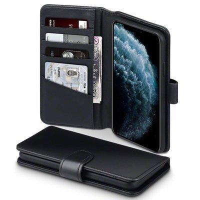 Apple iPhone 11 Pro Max hoesje, MobyDefend luxe echt leren bookcase, Zwart