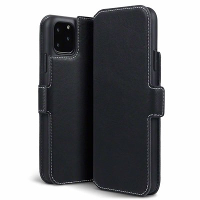 Apple iPhone 11 Pro Max hoesje, MobyDefend slim-fit extra dunne bookcase, Zwart