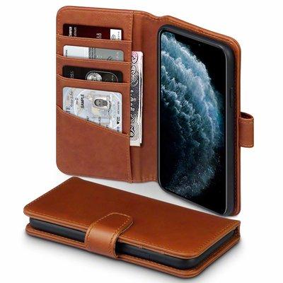Apple iPhone 11 Pro hoesje, MobyDefend luxe echt leren bookcase, Cognac bruin