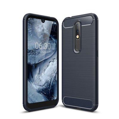 Nokia 4.2 hoesje, gel case brushed carbonlook, navy blauw