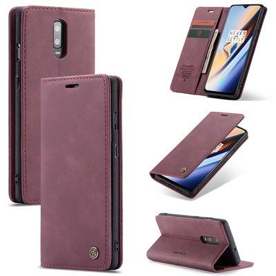 OnePlus 7 hoesje, CaseMe bookcase, donkerrood