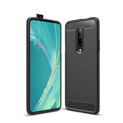 OnePlus 7 Pro hoesje, gel case brushed carbonlook, zwart