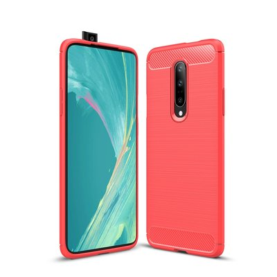 OnePlus 7 Pro hoesje, gel case brushed carbonlook, rood