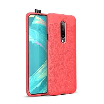 OnePlus 7 Pro hoesje, gel case lederlook, rood