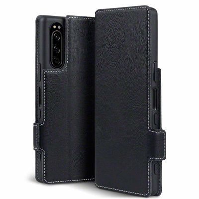Sony Xperia 5 hoesje, MobyDefend slim-fit extra dunne bookcase, Zwart