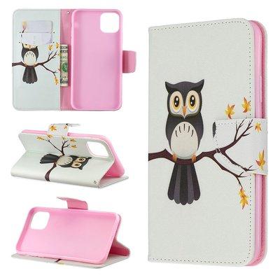 iPhone 11 Pro Max hoesje, 3-in-1 bookcase met print, uiltje