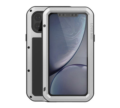 Apple iPhone 11 Pro Max hoes, Love Mei, Metalen extreme protection case, Zilver
