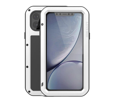 Apple iPhone 11 Pro Max hoes, Love Mei, Metalen extreme protection case, Wit