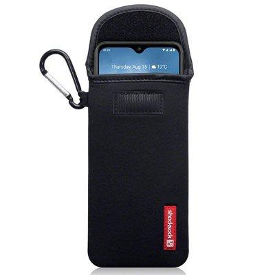 Hoesje voor Nokia 6.2 / Nokia 7.2, Shocksock neopreen pouch met karabijnhaak, insteekhoesje, zwart