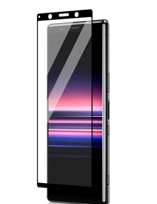 Sony Xperia 5 screenprotector, full screen tempered glass (glazen screenprotector), zwarte randen