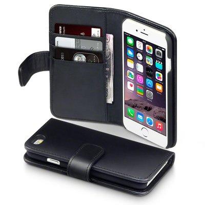 Apple iPhone 6 / iPhone 6S hoesje, MobyDefend luxe echt leren bookcase, Zwart