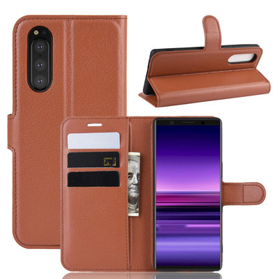 Sony Xperia 5 hoesje, 3-in-1 bookcase, bruin