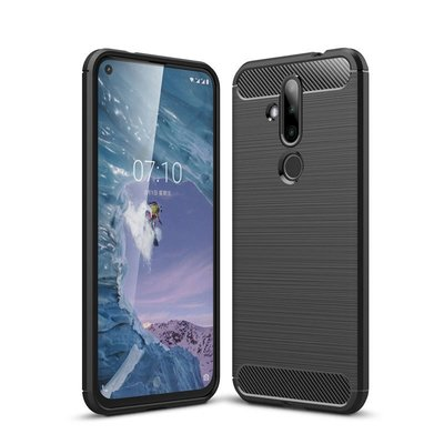 Nokia 6.2 / Nokia 7.2 hoesje, gel case brushed carbonlook, zwart