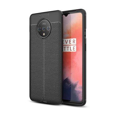 OnePlus 7T hoesje, gel case lederlook, zwart