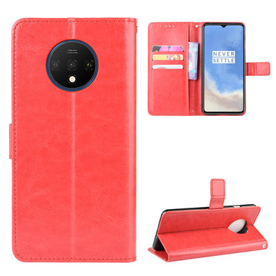 OnePlus 7T hoesje, 3-in-1 bookcase, rood
