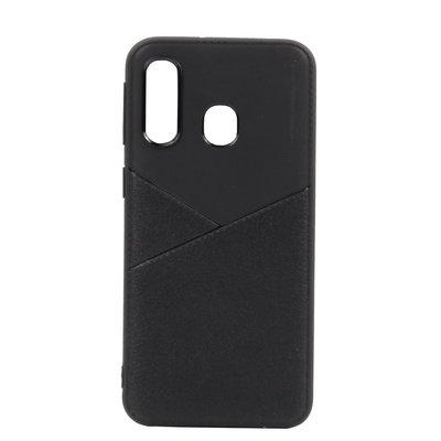 Huawei Y7 (2019) hoesje, gel case half lederlook, zwart