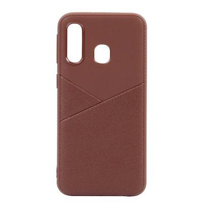 Huawei Y7 (2019) hoesje, gel case half lederlook, bruin