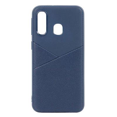 Huawei Y7 (2019) hoesje, gel case half lederlook, navy blauw