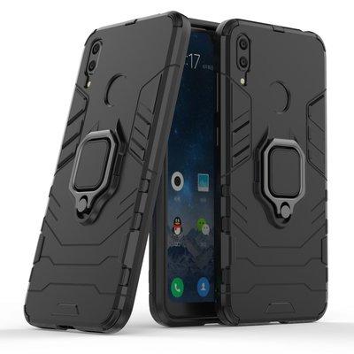 Huawei Y7 (2019) hoesje, dubbel gelaagde pantser case met standaard, zwart