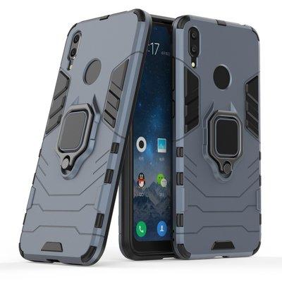 Huawei Y7 (2019) hoesje, dubbel gelaagde pantser case met standaard, navy blauw