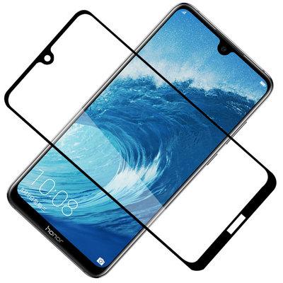Huawei Y7 (2019) screenprotector, full screen tempered glass (glazen screenprotector), zwarte randen