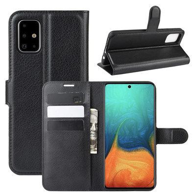Samsung Galaxy A71 hoesje, Wallet bookcase, Zwart