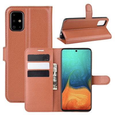 Samsung Galaxy A71 hoesje, Wallet bookcase, Bruin