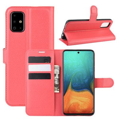 Samsung Galaxy A71 hoesje, Wallet bookcase, Rood