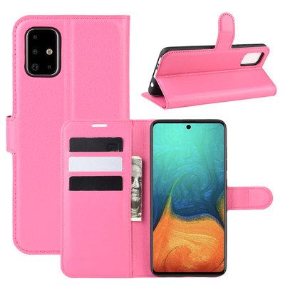 Samsung Galaxy A71 hoesje, Wallet bookcase, Roze